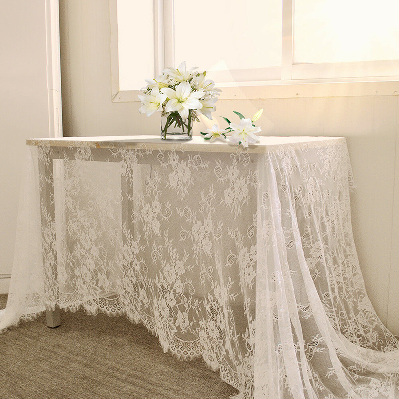 150*300cm White Vintage Table Cloth Lace Decorative Tablecloth Dining Table Cover Cloth Textile Wedding Party Hotel Home Decor