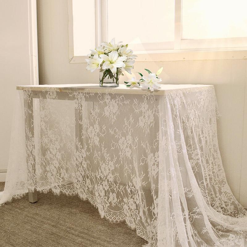 € 8.02 32% de DESCUENTO|Mantel decorativo de encaje de mantel de mesa  Vintage blanco de 150x300 cm, cubierta de mesa de comedor, decoración para  el ...