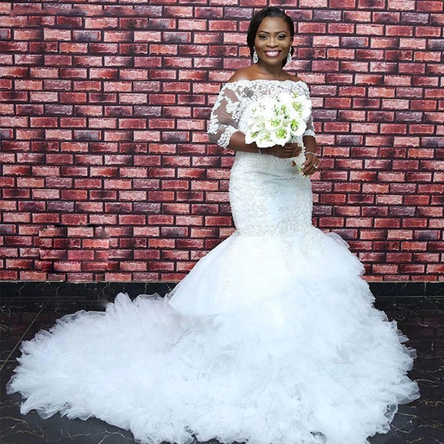 Vestido De Noiva Simples Elegance Black Woman Bridal Dresses Sexy Lace applique Africa Wedding Mermaid wedding Dress 2019