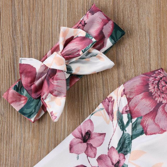 Floral Kids Long Sleeve Dress and Headband (2pcs)
