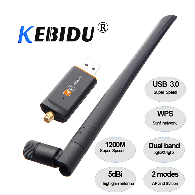 Kebidu Hot 1200Mbps USB 3.0 Wireless Wifi Adapter Superspeed Network Card RTL8812 Dual Band with AC Antenna For Laptop Desktop standard schnauzer