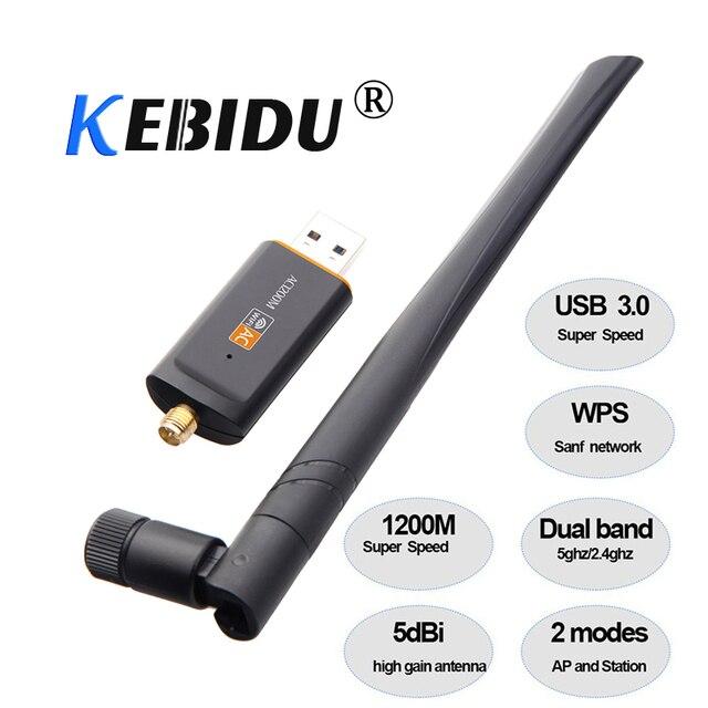 Kebidu חמה 1200 Mbps USB 3.0 Wireless Wifi מתאם Superspeed רשת כרטיס RTL8812 Dual Band עם AC אנטנה עבור מחשב נייד שולחן עבודה