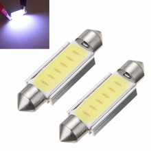 2X DC 12V White 41mm Festoon Lights COB LED Canbus Automobile License Plate Lamp Car Interior Roof Dome Reading Map Trunk Light цена в Москве и Питере