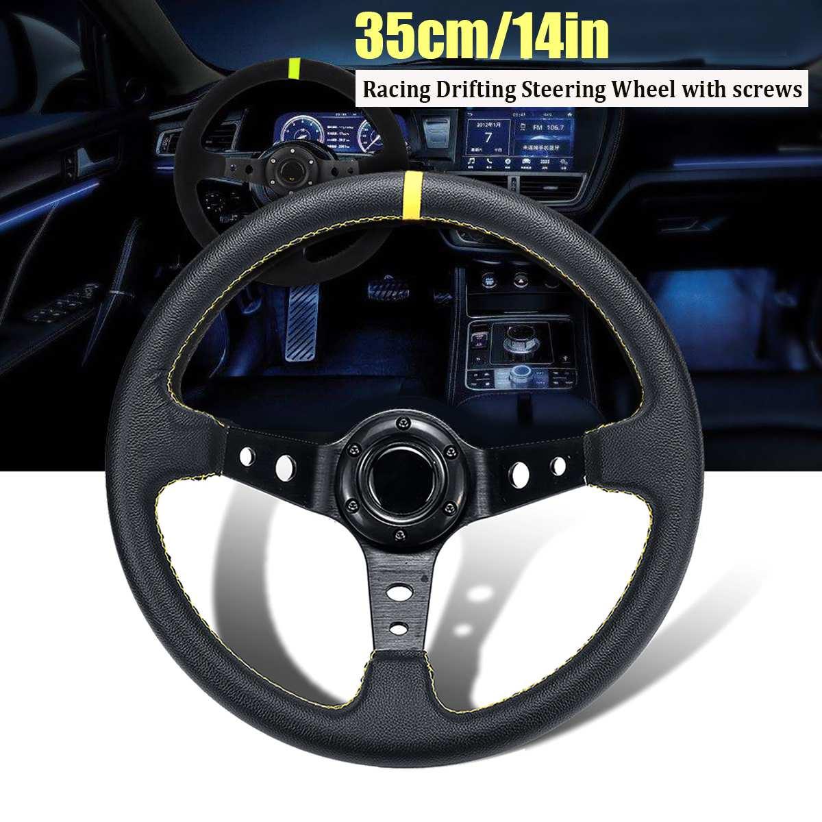 14 بوصة 350 مللي متر طبق عميق الانجراف عجلة القيادة العالمي الجلود الألومنيوم سيارة سباق السيارات الرياضة عجلة القيادة اكسسوارات