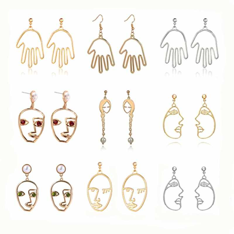 Statement Abstract Art Earrings for Women Trend Simple Fashion Gold Face Hand Drop Earrings Palm Korean Funny Jewelry Brincos
