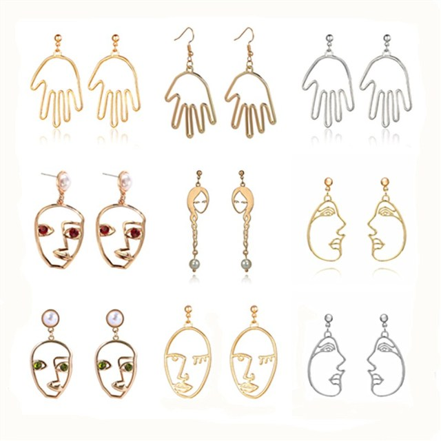 a763c16243aad US $0.35 51% OFF Statement Abstract Art Earrings for Women Trend Simple  Fashion Gold Face Hand Drop Earrings Palm Korean Funny Jewelry Brincos-in  Drop ...