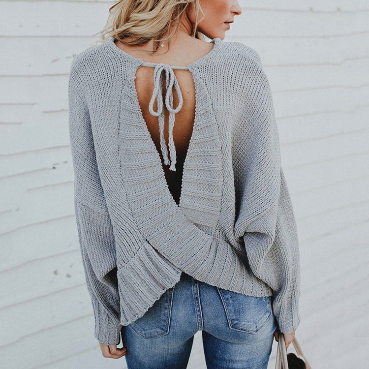 2019 Autumn Fashion New Long Bat Sleeve Backless Crossing Round Neck Knitted Sweater Woman Chalaza Knitting Pullover Loose Tops