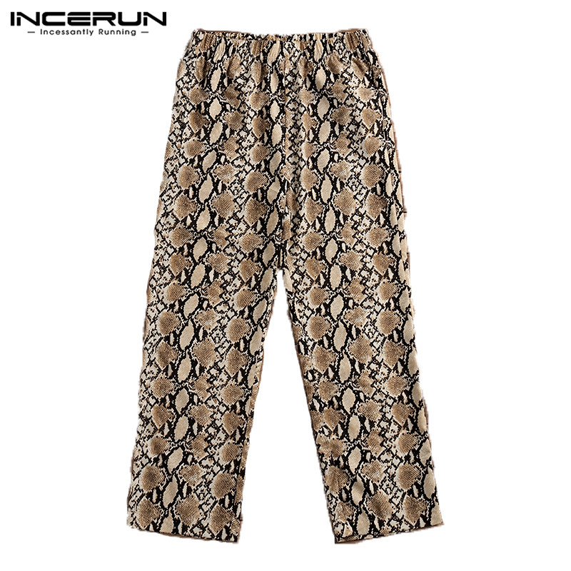 INCERUN 2019 Fashion Men Pants Leopard Print Joggers Cool Casual Trousers Men Loose Elastic Waist Bodybuilding Yoga-pants Hombre