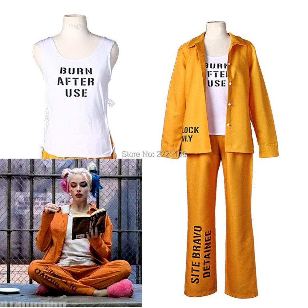 New Hot Batman Suicide Squad Harley Quinn Cosplay CostumeJoker Coat Tops Pants Outfit Halloween Costume Party Prison Uniform Set