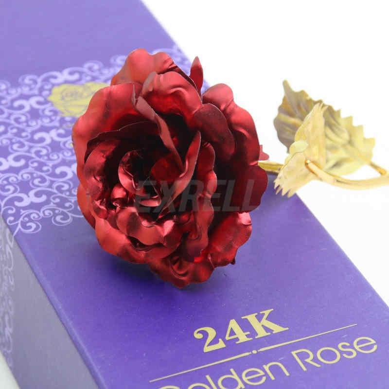 24 K pozłacane Rose kwiat sztuczne kwiaty oddział prezent na Walentynki urodziny romantyczny złoty kwiat