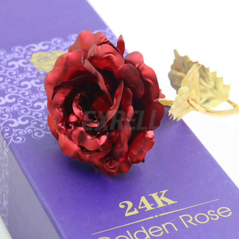 24K Gold Plated Rose Flower Artificial Flowers Branch Valentine's Day Gift Birthday Romantic Golden Flower