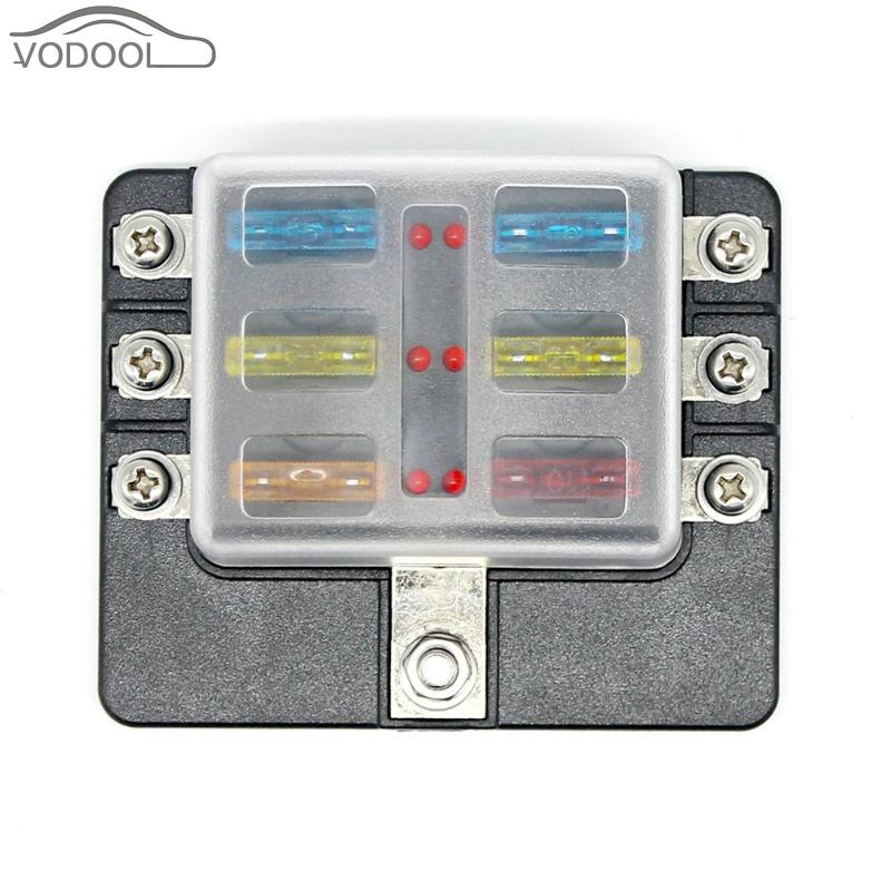 12v 24v 6 way truck auto fuse box fuse block holder with. Black Bedroom Furniture Sets. Home Design Ideas