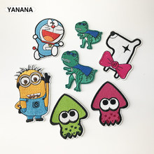cartoon Mushroom Dinosaur Iron On Patches Sewing Embroidered Applique for Jacket Clothes Stickers Badge DIY Apparel Accessories(China)