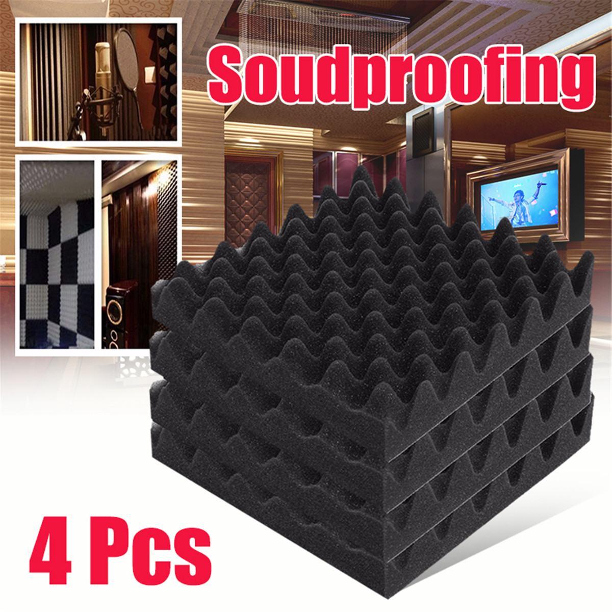 4 Pcs 30x30x6 Cm Akustische Keil Schaum Studio Akustische Schallschutz Schwamm Sound Behandlung Studio Zimmer Schwarz Einfach Zu Verwenden Dichtleisten