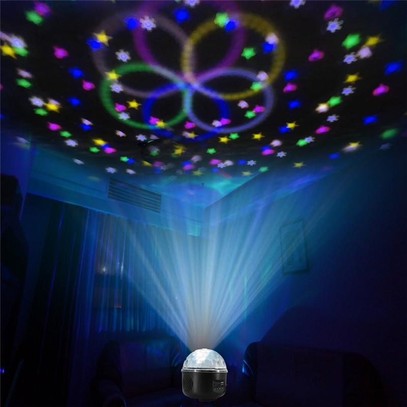 CLAITE 10W Colorful LED Stage Light LED Party Disco Crystal Magic Ball Effect Music Stage Light Sound-activated Remote