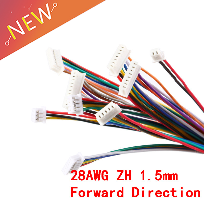 5Pcs ZH <font><b>1.5mm</b></font> <font><b>Connector</b></font> Wire Cable 2/3/4/5/6/7/8/9/10 Pin Double Connectors Electronic Line Terminal Plug Forward Direction 10CM image