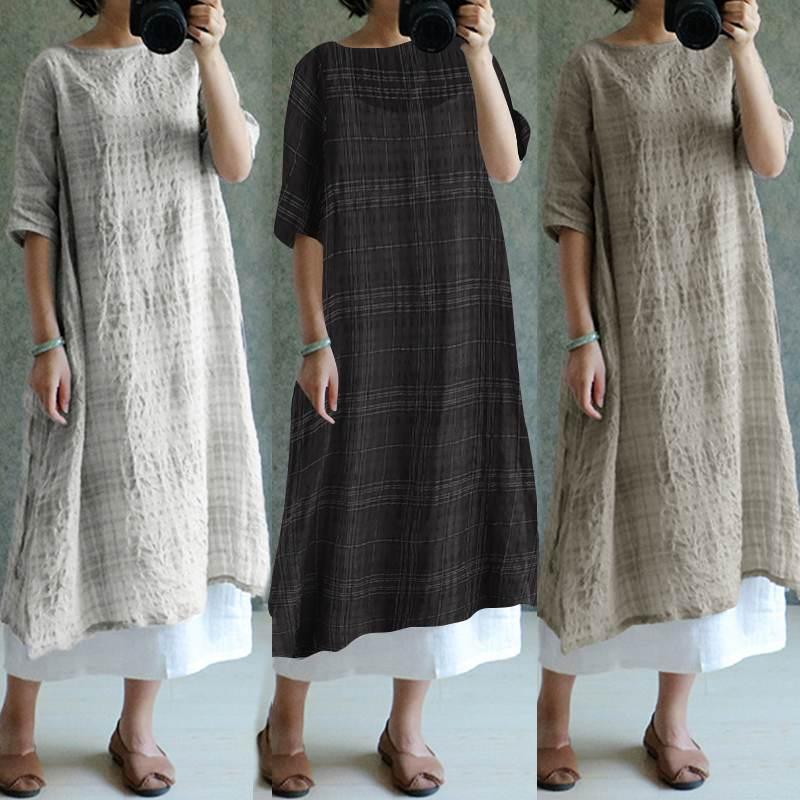 Cellmia Summer Beach Robe Dress Women Retro Plaid Dress Casual Loose Check Long Shirt Dress Split Linen Vestidos Femme Plus Size