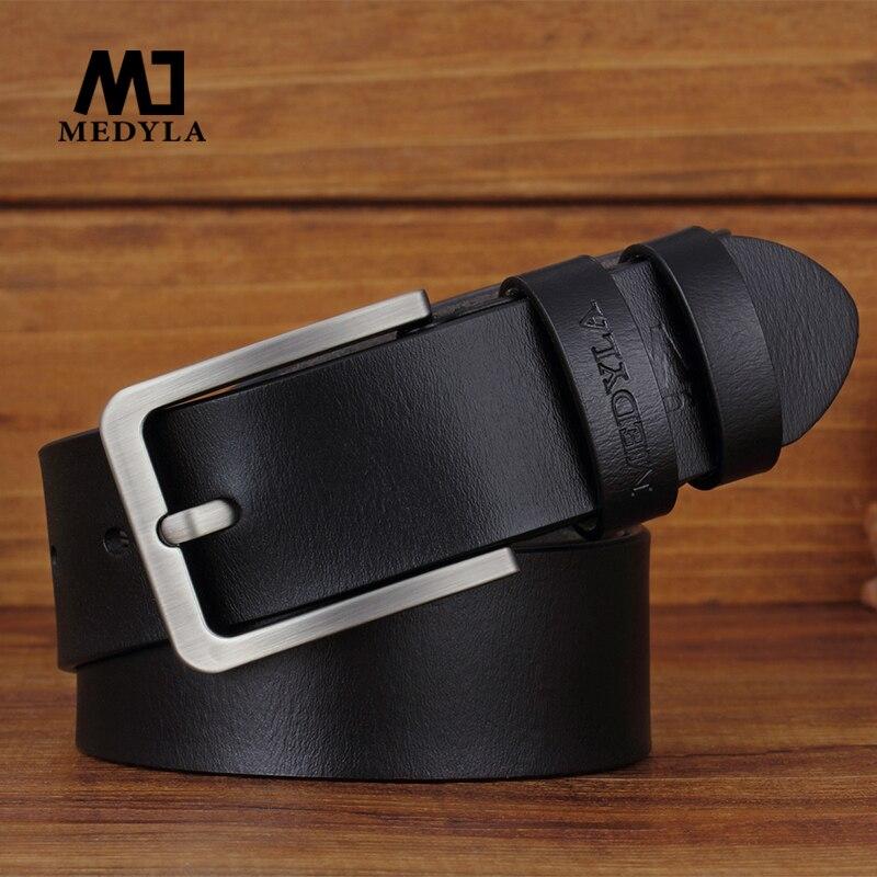 MEDYLA Men's Belt High Quality Leather Simple Sturdy Brushed Steel Pin Buckle Suit Belt Casual Business Belt Men's Gift Dropship