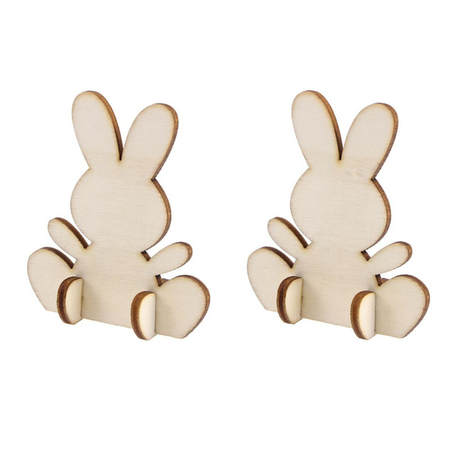 Us 203 40 Off5pcs Cute Easter Rabbit Wooden Pieces 3d Bunny Ornament Cutouts Craft Home Decor In Party Diy Decorations From Home Garden On
