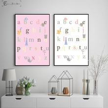Kids Alphabet Nursery Style Vintage Poster Prints Oil Painting On Canvas Wall Art Murals Pictures For Girls Room Decoration