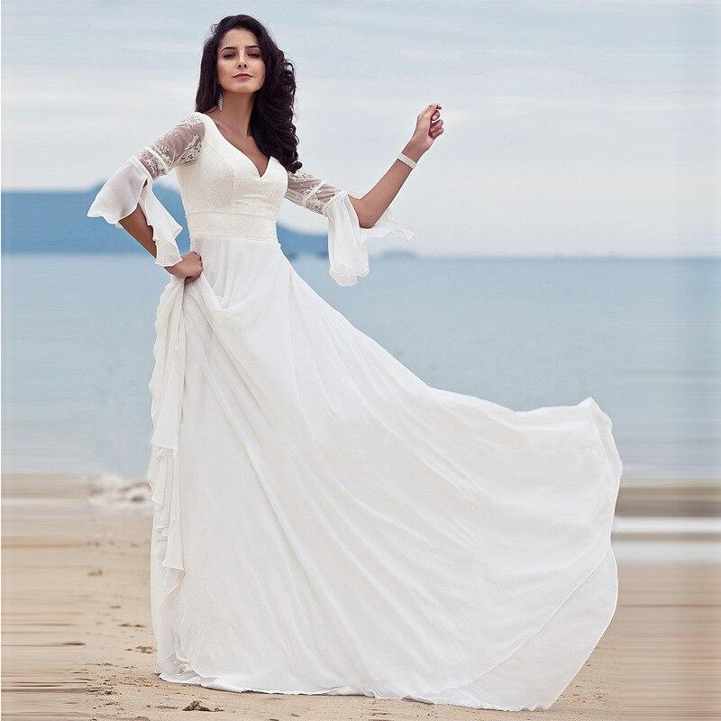 2019 femmes plage robe blanc dentelle sans manches une ligne longue robe élégante
