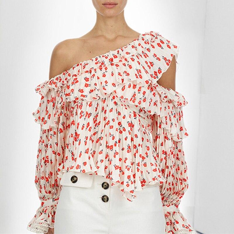 Rouge Floral imprimer brochette col Blouse femmes 2019 printemps été nouveau brochette col à manches longues en mousseline de soie chemise femelle plissée haut
