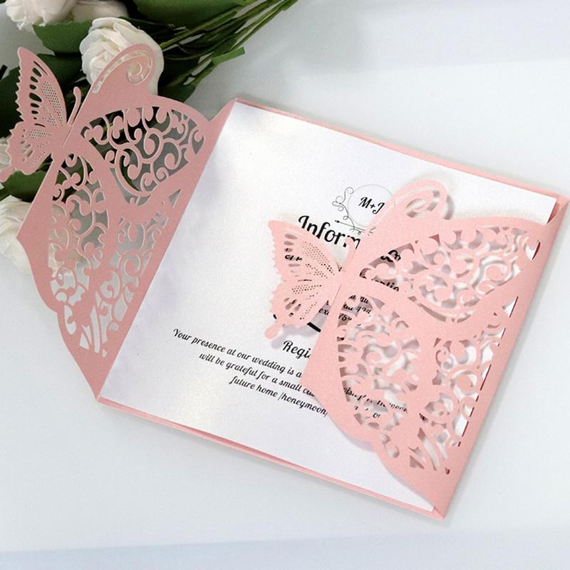 10pcs Laser Cut Hollow Butterfly Wedding Invitations Cards