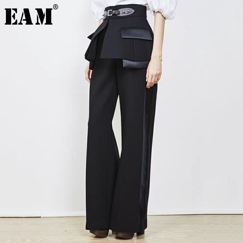 [EAM] 2019 New Autumn Winter High Waist Side Striped Buckle Split Joint Wide Leg Loose Pants Women Trousers Fashion Tide JR852