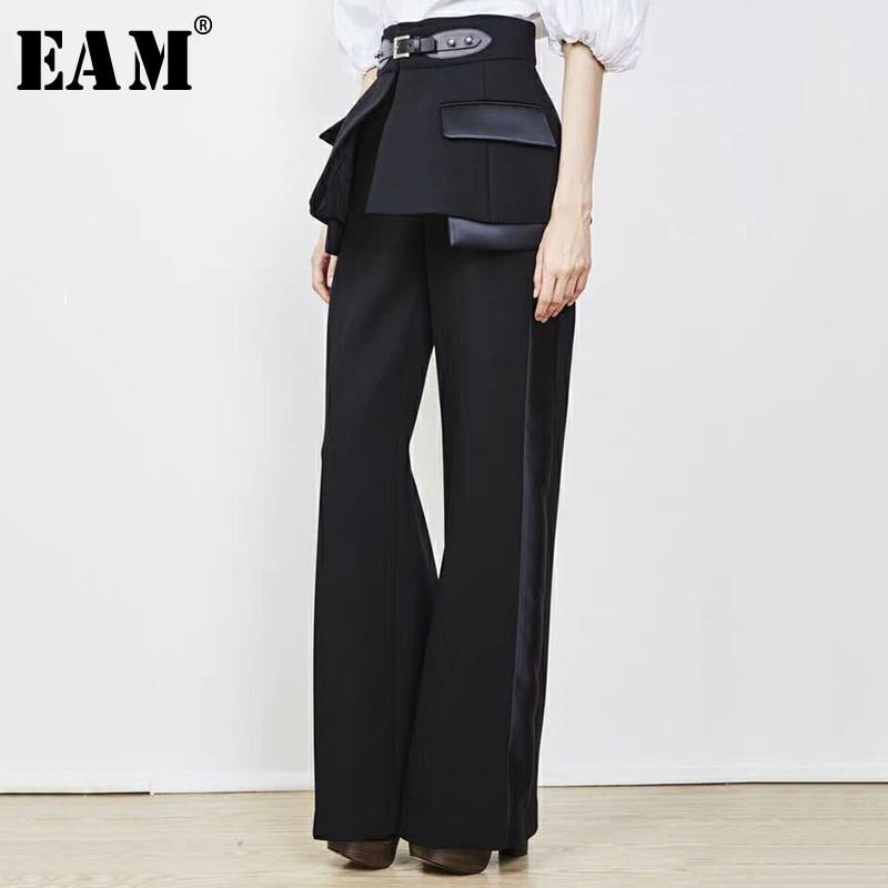 [EAM] 2019 New Autumn Winter High Waist Side Striped Buckle Split Joint Wide Leg Loose Pants Women Trousers Fashion Tide JR852-in Pants & Capris from Women's Clothing    1