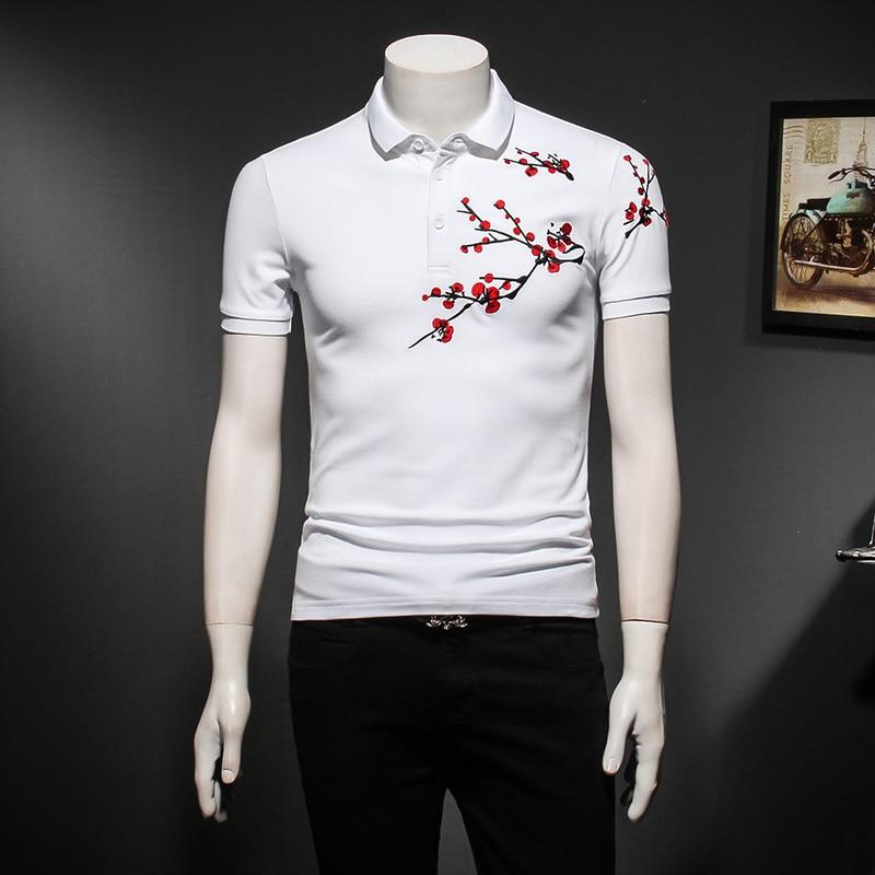 Chinese Style Embroidery Men's   Polo   Shirt Men Turn-down Collar   Polo   Homme Short-sleeved Men   Polos   Para Hombre Camisa   Polo
