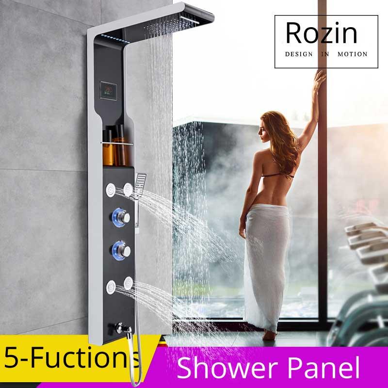 Waterfall Rain Shower Faucet Blue Light Bath Shower Panel With Storage Shelf SPA Body Massage Jet Shower Mixer Tap Rotate Spout