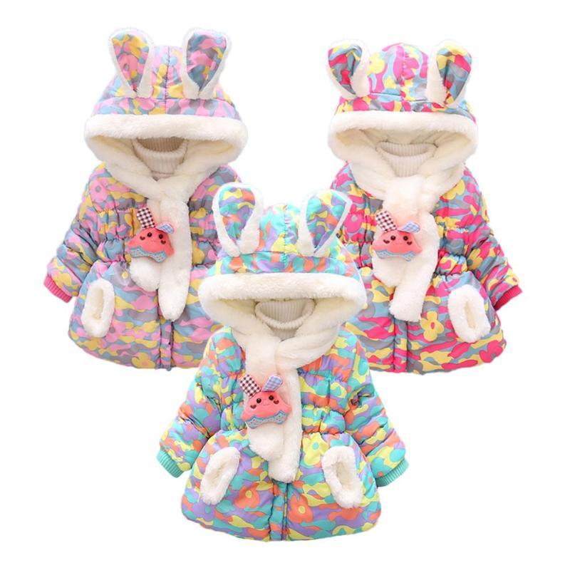 2 Stks/set Koreaanse Parka Winter Baby Kids Meisjes Jassen Fleece Down Katoen Gewatteerde Jas Sjaal Baby Baby Uitloper Met Sjaal