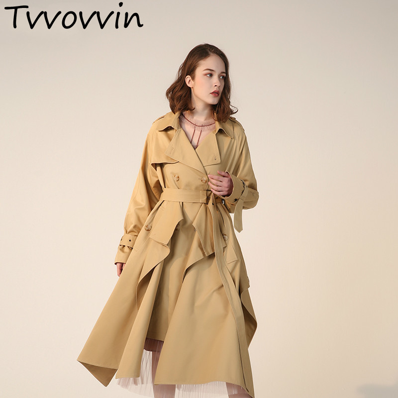 TVVOVVIN 2019 New Spring Summer Lapel Long Sleeve Khaki Hem Split Joint Big Size Loose Windbreaker Women   Trench   Tide E795