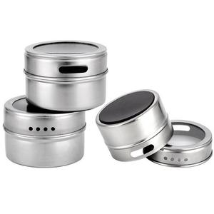 Image 5 - 9/12 Pieces Magnetic Spice Jars Set Stainless Steel Salt And Pepper Spray Shakers Spice Rack Seasoning Box Condiment Container