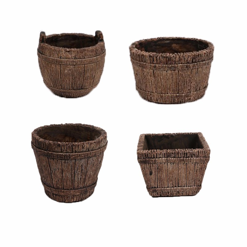 Creative Vintage Old Wooden Flower Pot Ornamental Small Barrel Succulent Flower Pot Flower Basket For Wedding Home Decoration