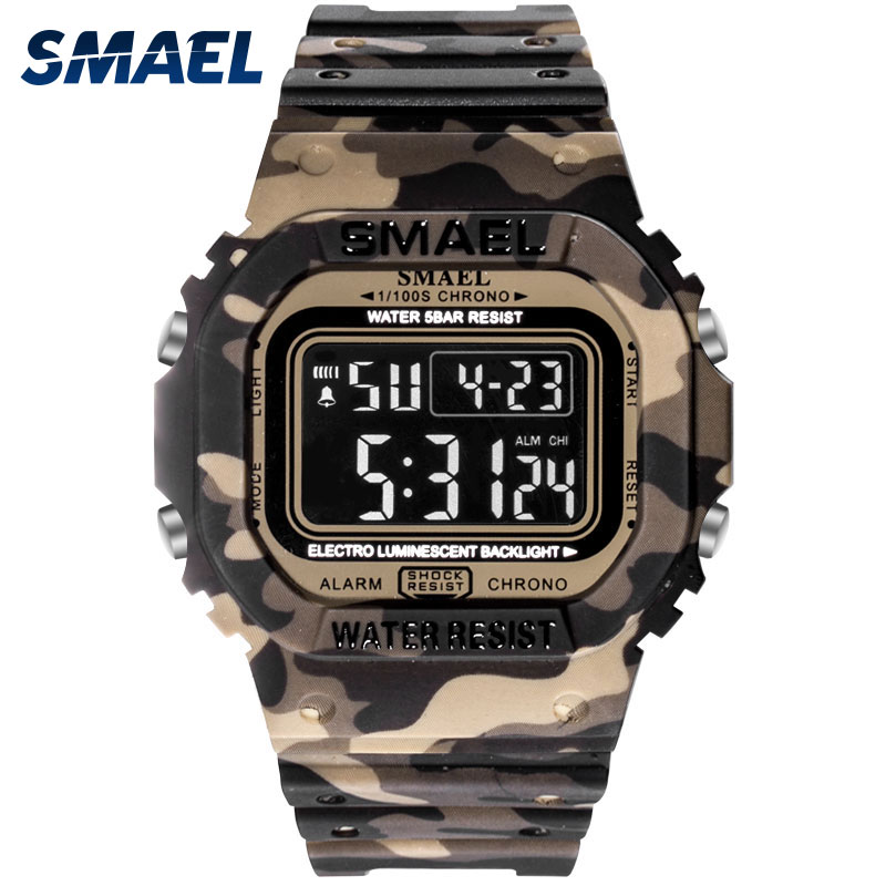 Digital Watch Men SMAEL Electronic Watch Sport Camo LED Clock Male Digital Relogio Masculino 1801 Cheap Waterproof Watch Digital