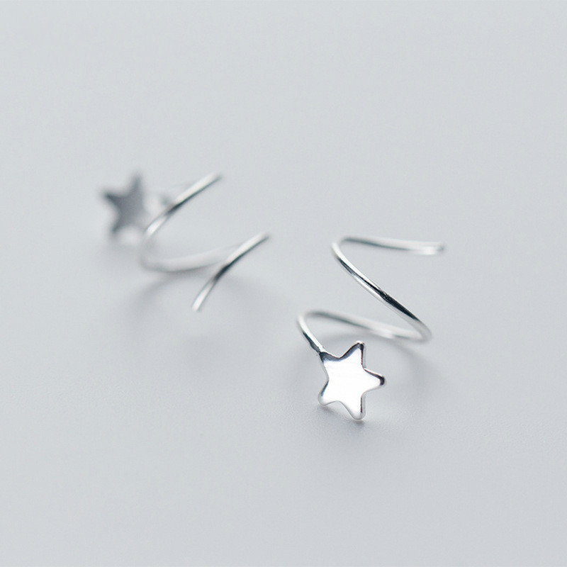 100% 925 Sterling Silver Women Small Star Ear Bones Ear Buckle Ring Tightly Packed Mini Double Ring Earrings Moderate Price