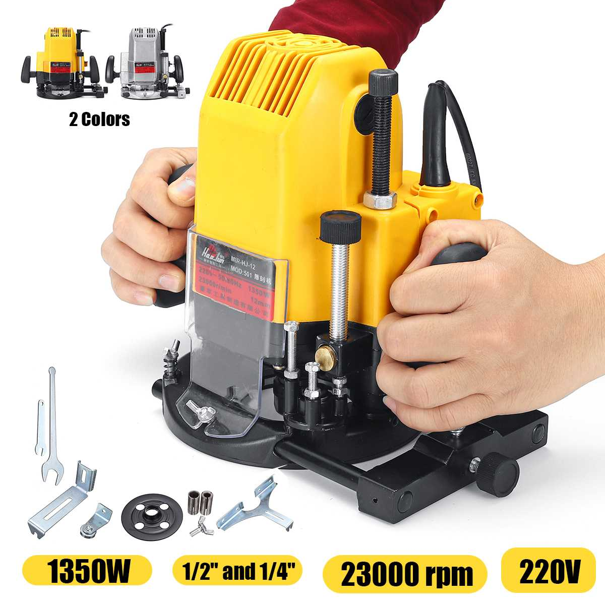 """1/4"""" 1/2"""" Wood Routing Machine 1350W 220V Electric Plunge Router Collet Electric Router Woodworking Trimmer Trimming Machine"""