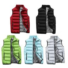 Men's Casual Vest Jacket Thickened Sleeveless Padded Warm Anti - Static Breathable Coat Autumn Winter Red Gray Black Blue Green