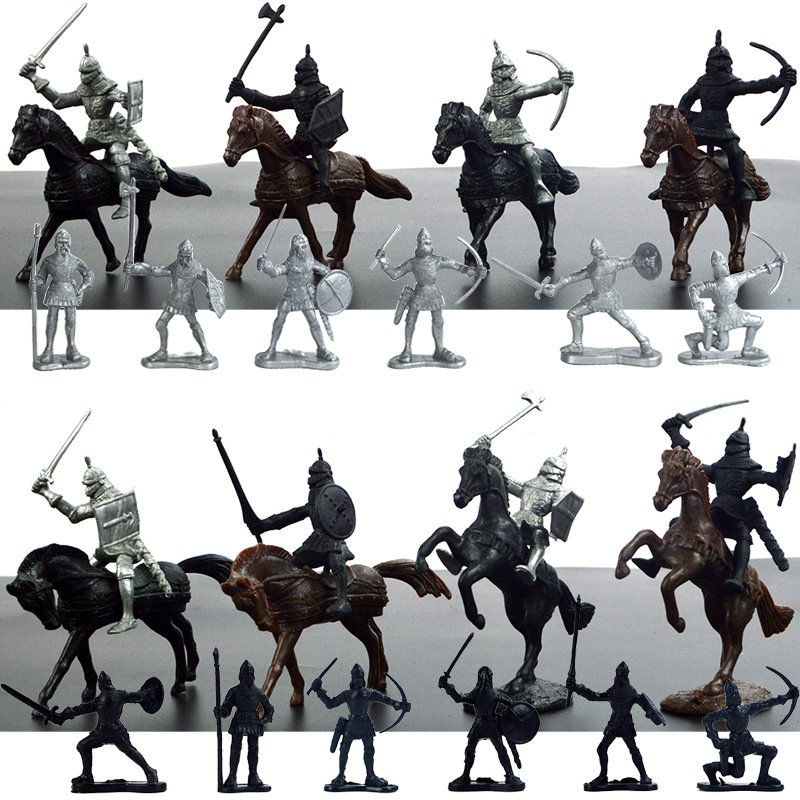 Plastic 28Pcs Lot Medieval Knights Soldiers Model Toys Horses Soldiers Figures Models Play Kit Children Educational