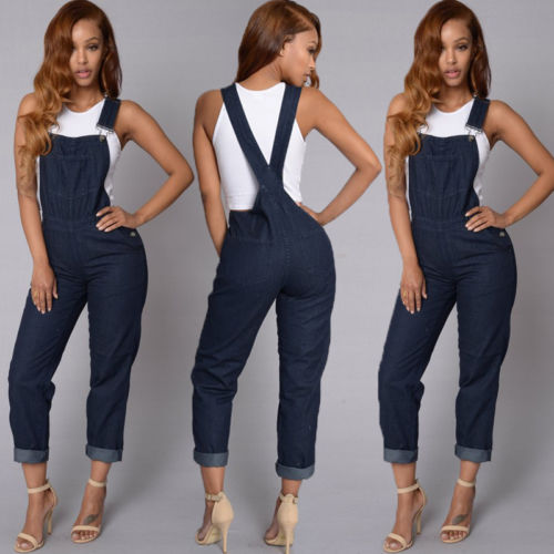Causal Women Baggy Denim High Waist Bib Full Length Overall Jumpsuit Skinny Button Jeans Size S-XL