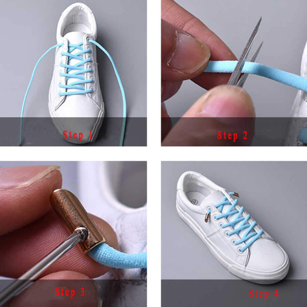 1pair 105cm Elastic Rubber Shoe lace Stretching Locking no tie lazy shoelaces Flat sneaker Bootlaces safe shoelace