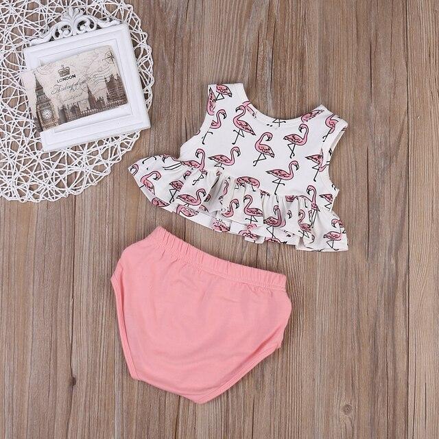 Summer Sleeveless Cotton Flamingo Printing Set - 2pcs
