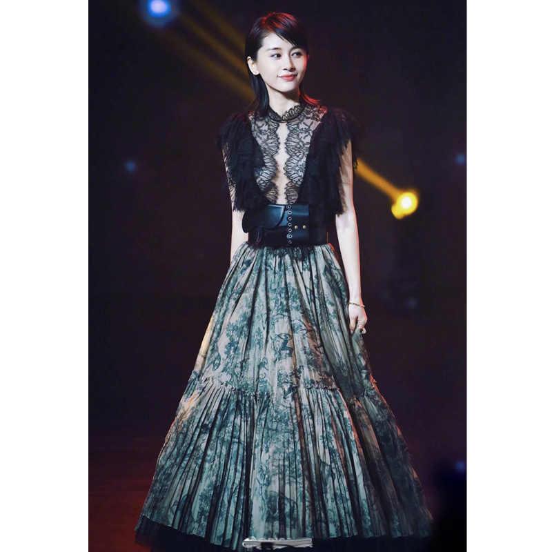 Женские элегантные костюмы из двух частей прозрачное черное кружевное винтажное платье рокабилли с принтом в стиле пэчворк