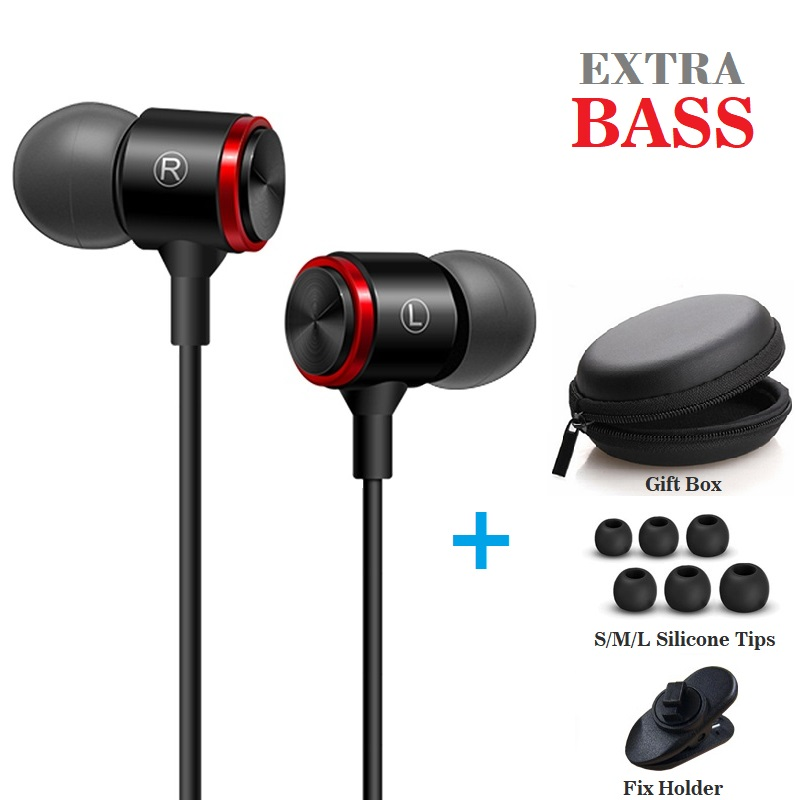 JEELOCK In Ear 3.5mm Wire Super Bass Earphone Headset with Microphone Metal Subwoofer Computer PC Gaming Headset Sport Earphone