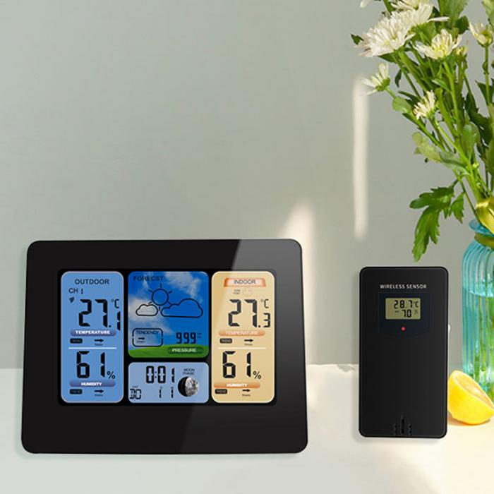 Color Weather Station Forecaster with Temperature Humidity WIFI APP Smart Weather Station FBE3 image