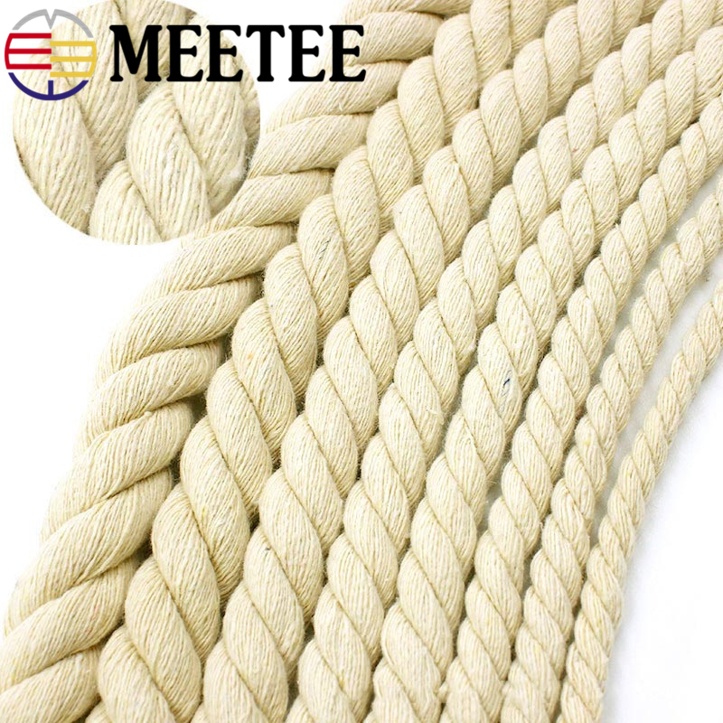 5/10Meter Meetee 5-20mm Beige Cotton Rope 100% Thick Cotton Cords for Bag Strap Home Decor Accessories DIY Handmade Rope Craft