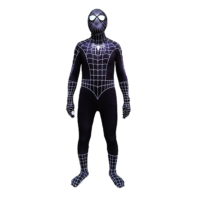 Deluxe Black Spiderman Costume Adult Spider-Man Jumpsuit Halloween Party Cosplay Jumpsuit