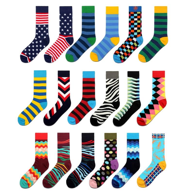 Men   Socks   Funny Zebra Stripe Wave Dot Diamond Lattice Gecko Colorful Happy Hip-hop Harajuku Street Casual Skate Cotton   Socks