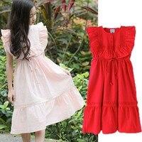 Ruffles Patchwork Little Girls Dress Pink Red New 2019 Big Children Dresses Girls Summer Sleeveless Clothes Fashion